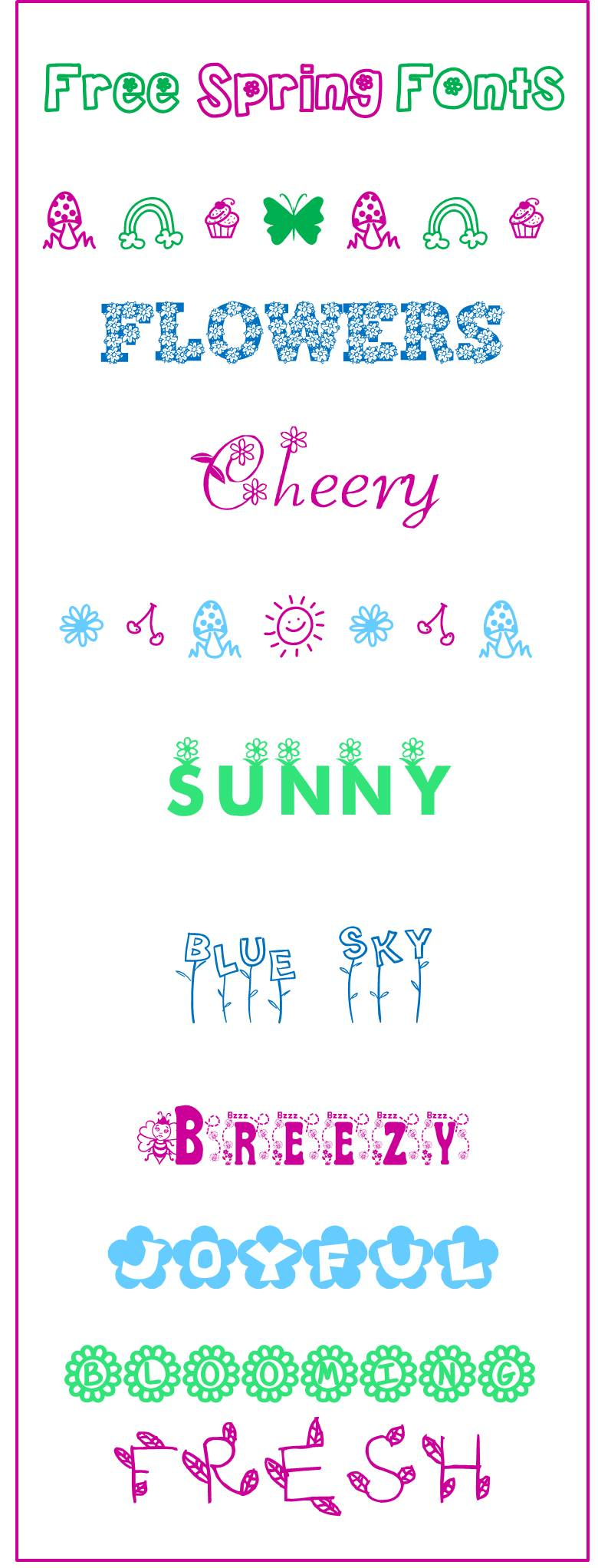 Free sprig fonts Cheer and cherry