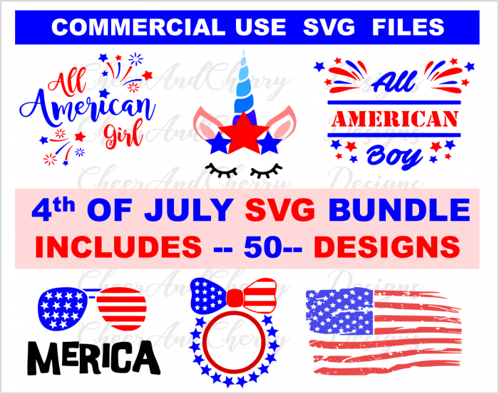 4th of July SVG bundle Summer cutting file Independence day cut files patriotic DXF america clipart USA png july 4th munogram unicorn distressed flag