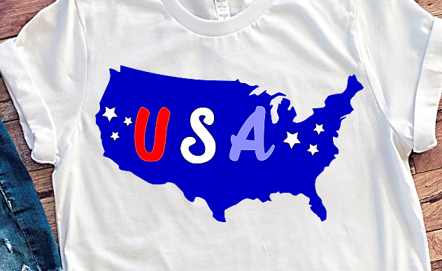 USA America map SVG DXF PNG files for Independence day Cricut projects