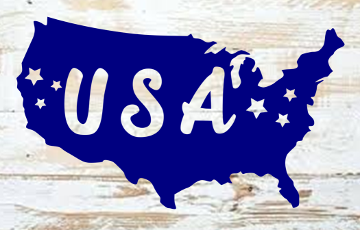 USA map patriotic SVG DXF PNG files for july fourth silhouette Cricut projects